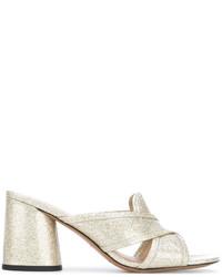 Chinelas de cuero doradas de Marc Jacobs