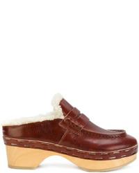 Chinelas de cuero marrónes de MM6 MAISON MARGIELA