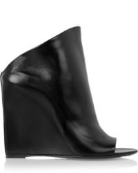 Chinelas de cuero negras de Balenciaga