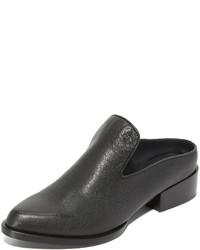 Chinelas de cuero negras de DKNY
