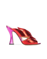 Chinelas de cuero rojas de Charlotte Olympia