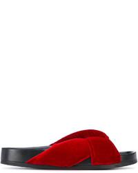 Chinelas de cuero rojas de Chloé