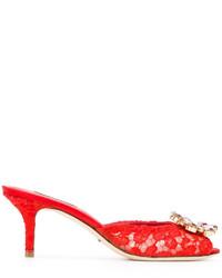Chinelas de cuero rojas de Dolce & Gabbana