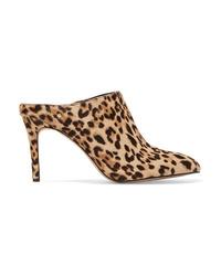 Chinelas de pelo de becerro de leopardo marrón claro