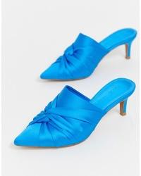 Chinelas de satén azules de ASOS DESIGN