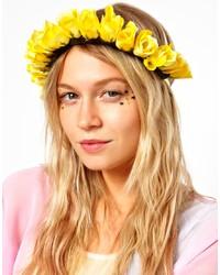 Cinta para la cabeza con print de flores amarilla de Asos