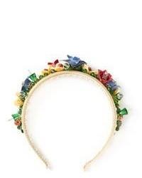 Cinta para la cabeza con print de flores en multicolor de Dolce & Gabbana