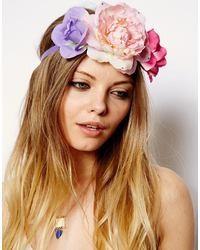 Cinta para la cabeza con print de flores rosada de Asos