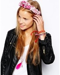 Cinta para la cabeza con print de flores rosada de Johnny Loves Rosie