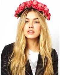 Cinta para la cabeza con print de flores rosada de Rock 'N' Rose
