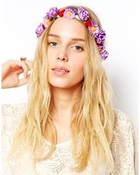 Cinta para la cabeza con print de flores violeta claro de Asos