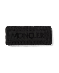 Cinta para la cabeza de lana de punto negra de Moncler