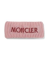 Cinta para la cabeza de lana de punto rosada de Moncler
