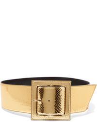 Cinturón con print de serpiente dorado de Saint Laurent