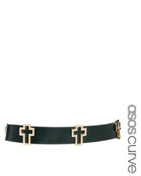Cinturón de cuero con adornos en negro y dorado de Asos Curve