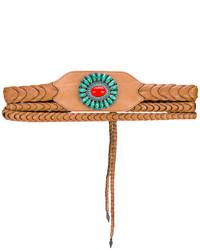 Cinturón de cuero con adornos en tabaco de Etro
