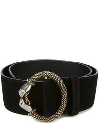 Cinturón de cuero con adornos negro de Lanvin