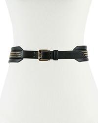 Cinturón de cuero con tachuelas negro