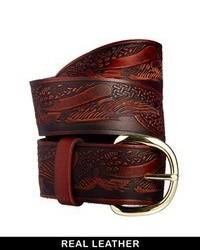 Cinturón de cuero en marrón oscuro de Asos