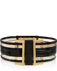 Cinturón de cuero en negro y dorado de Balmain