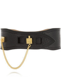 Cinturón de cuero en negro y dorado de MCQ