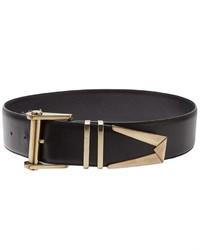 Cinturón de cuero en negro y dorado de Versace
