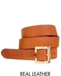 Cinturón de cuero marrón claro de Asos