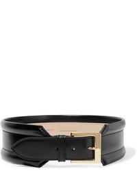 Cinturón de cuero negro de Alexander McQueen