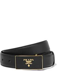 Cinturón de cuero negro de Prada