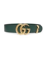 Cinturón de cuero verde oscuro