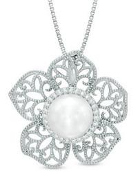 Colgante con print de flores blanco