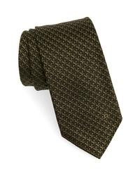 Corbata a cuadros verde oliva
