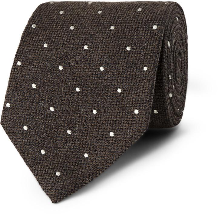 Corbata a lunares en marrón oscuro de Dunhill