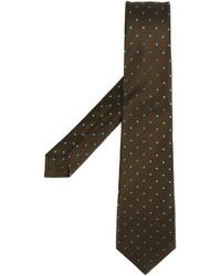 Corbata a lunares marrón de Kiton