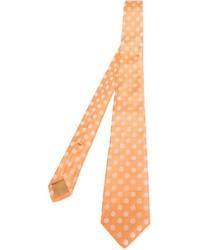 Corbata a lunares naranja de Kiton