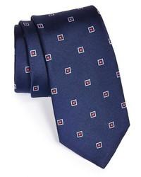 Corbata bordada azul marino