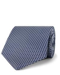 Corbata con estampado geométrico azul marino de Dunhill