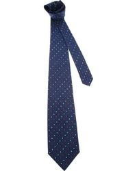 Corbata con estampado geométrico azul marino de Salvatore Ferragamo
