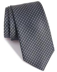 Corbata con estampado geométrico en gris oscuro