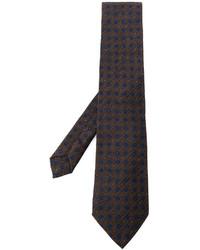 Corbata con estampado geométrico en marrón oscuro