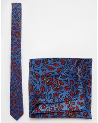 Corbata con print de flores azul marino de Asos