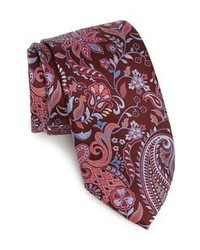 Corbata con print de flores burdeos