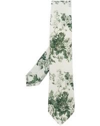 Corbata con print de flores en beige
