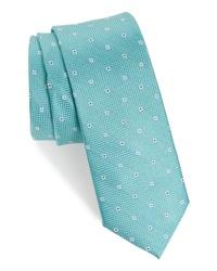 Corbata con print de flores en verde menta