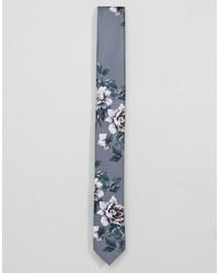 Corbata con print de flores gris de Asos