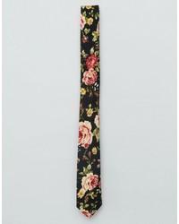 Corbata con print de flores negra de Asos