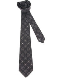 Corbata con print de flores negra de Kiton