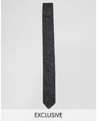 Corbata con print de flores negra de Reclaimed Vintage