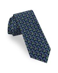 Corbata con print de flores verde oscuro