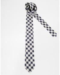 Corbata de cuadro vichy en blanco y negro de Asos